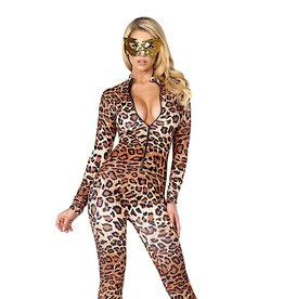 FOR Leopard Zip Front Catsuit