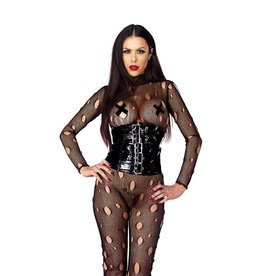 FOR Distressed Fishnet Catsuit With Holes