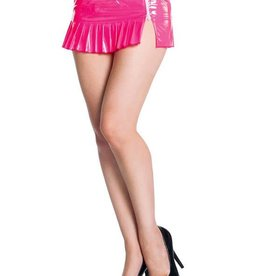 SIL Zip Off Pleated 7 Inch PVC Micro Mini Skirt