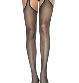 LGA Spandex Sheer Suspender Hose with Lace Waist