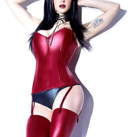 COQ Boned Wetlook Corset With Removable Straps