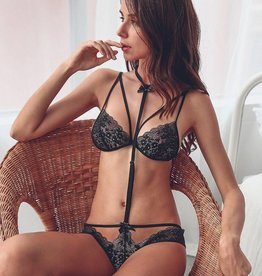 ETC 3 Piece Lingerie Set  Black  O/S