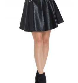 SIL Pleather Circle Mini Skirt With D Rings