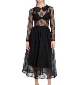 CLR Floral Lace Dress With Full Skirt