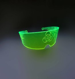 SOL Florescent Green UV Rave Visor with Gears & Biohazard