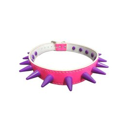 SOL Florescent Pink Vegan Leather Choker with Purple Cone Spikes