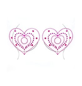LGA Cassia Heart Adhesive Nipple Jewels  Red