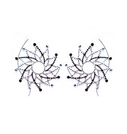 LGA Flora Adhesive Nipple Jewels Black & Silver