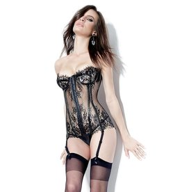 COQ Eyelash Lace Bustier with Hook & Eye Closure