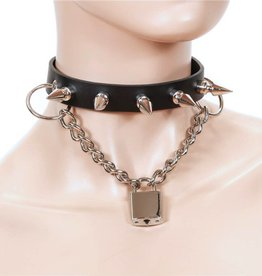 FPL Leather Spike Collar with Chain & Lock