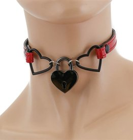 FPL Thin Double Heart Choker with Heart Lock ADJ