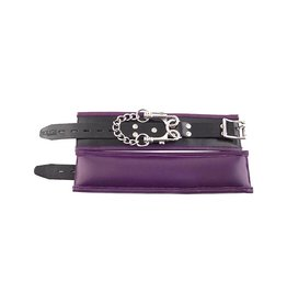 ECN Rouge Padded Leather Wrist Cuffs Black & Purple