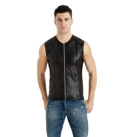 MOD Wetlook Zip Front Vest Top with PVC Trim