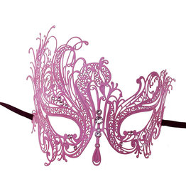 KBW Pink Metal Venetian Mask with Stones