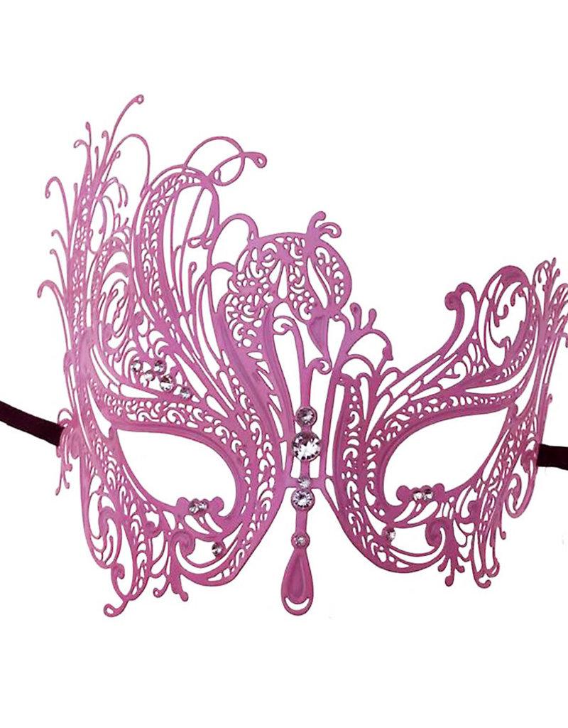 KBW Pink Metal Venetian Mask with Stones