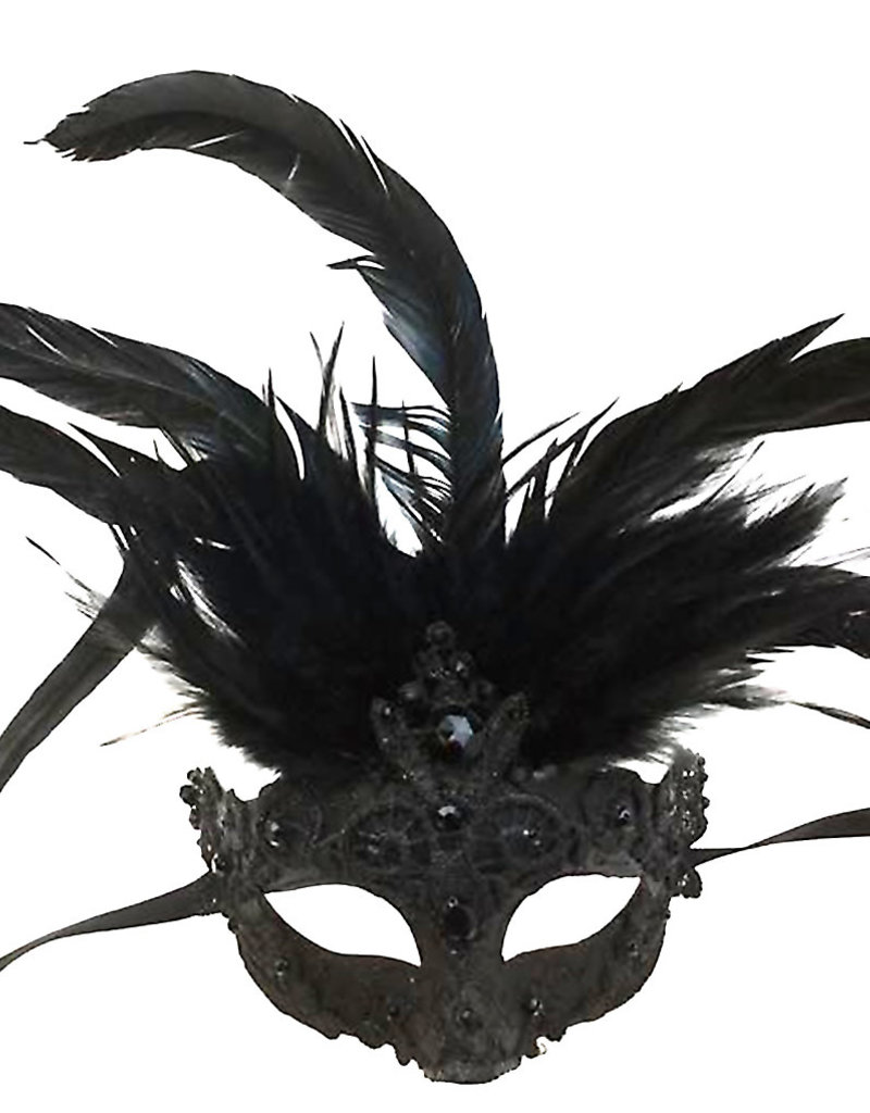 KBW Venetian Mask with Black Lace & Feathers
