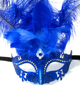 KBW Venetian Mask with Crystals & Feathers