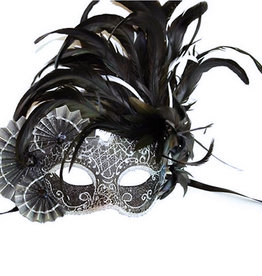 KBW Venetian Mask with Fans & Feathers