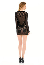 PC Dena Mesh & Lace Mini Skirt