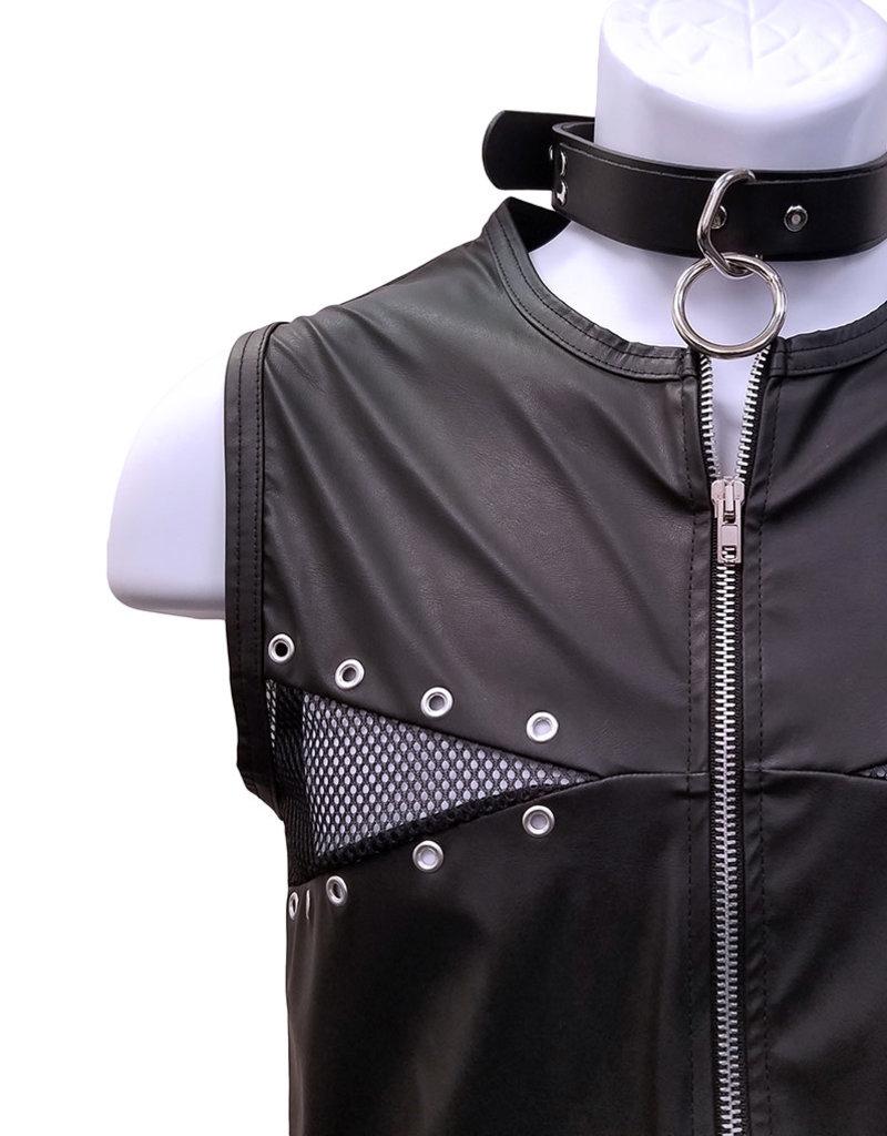 MOD Wetlook Zip Front Vest Top with Grommet Detail