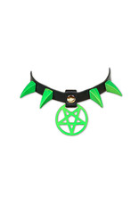 FPL Leather Pentagram Collar With Claw Spikes