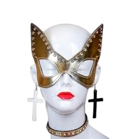FPL Patent Cat Eye Mask With Rhinestones