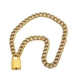 FPL Diamond Cut Gold Chain Choker with Square Lock