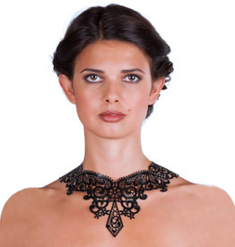 Attend Latex Lace Necklace with Ribbon Closure