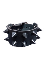 SOL Leather Bracelet with Black Cone Studs