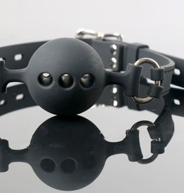 SMT Breathable Silicone Ball Gag Black ADJ