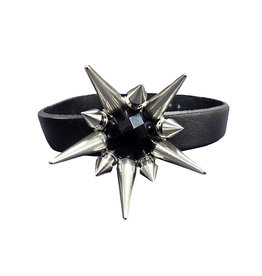 SOL Leather Choker with Black Crystal & Spikes