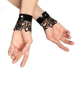 pd Latex Lace Wrist Cuffs with Snap Closure