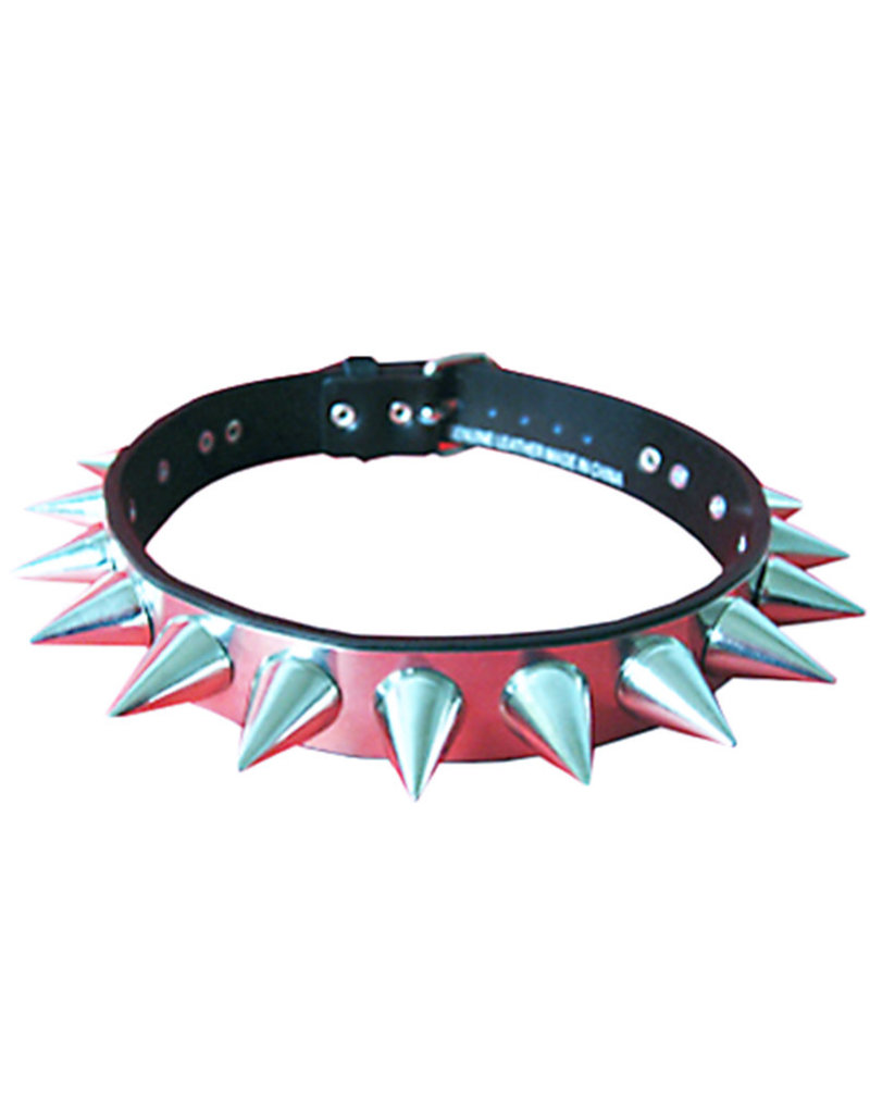 SOL Steel & Leather Choker with Wide Base Cone Studs