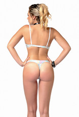 PC Annabelle Silver Holographic PVC Open Crotch G-String