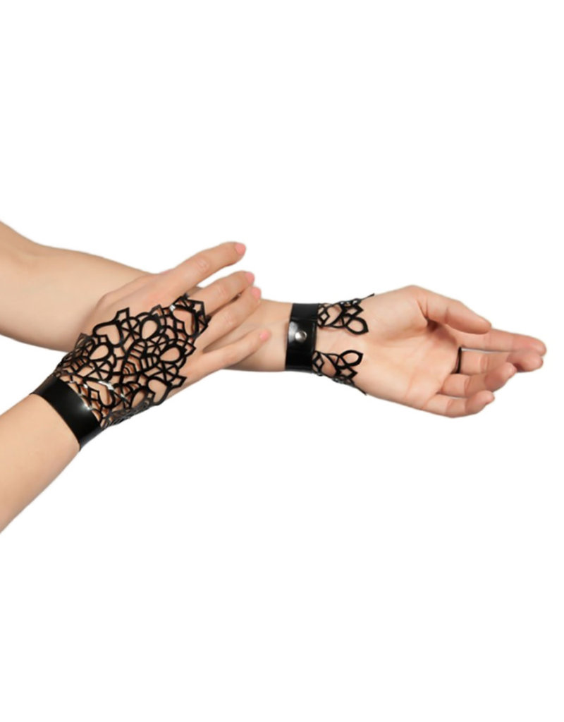 pd Latex Lace Wrist & Finger Cuffs with Snap Button Closure