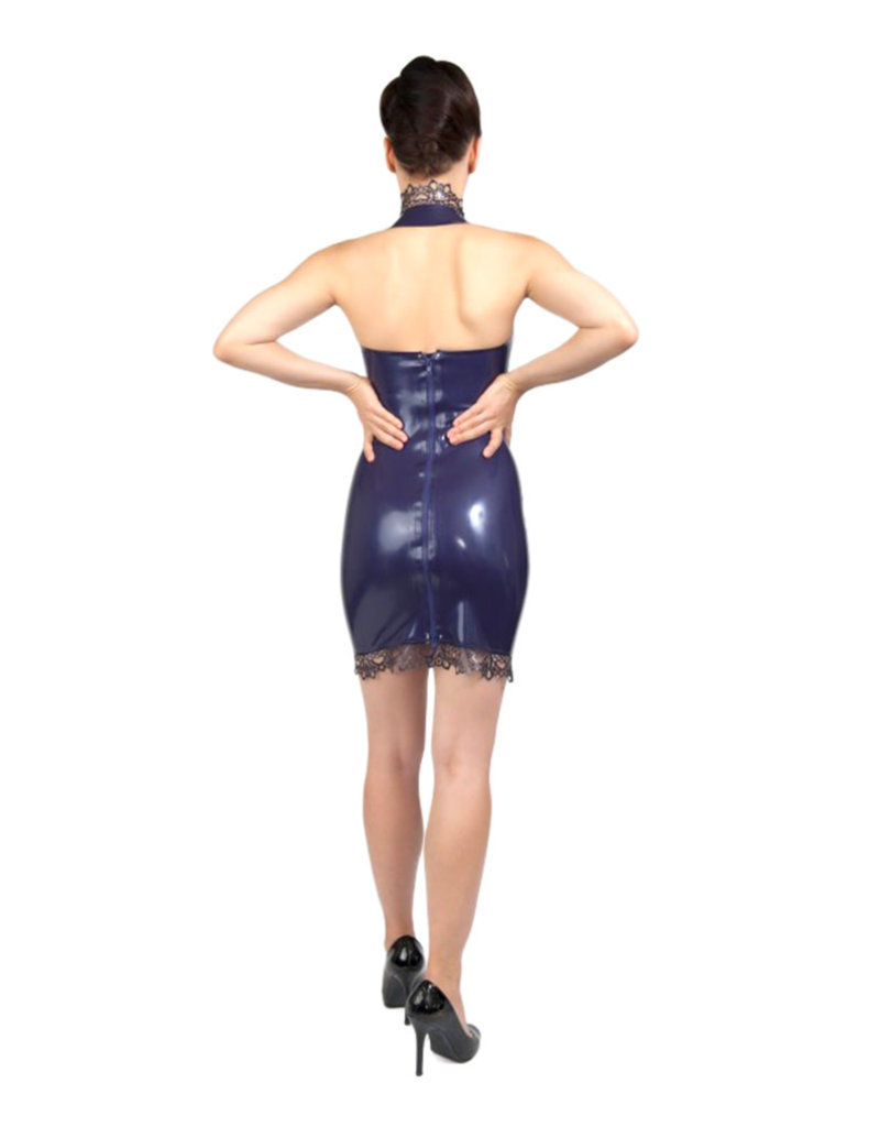 pd Latex Lace Trim Halter Dress