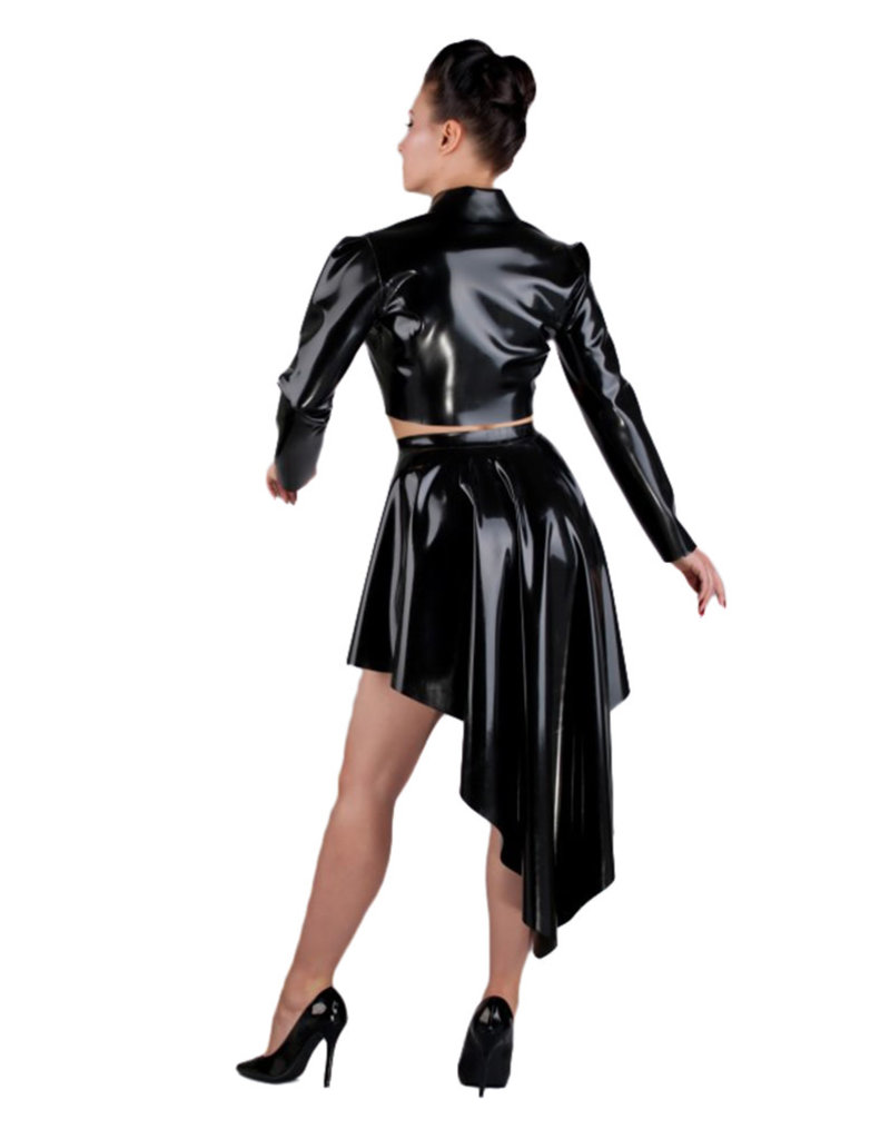 pd High Low Latex Flare Skirt