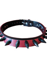 SOL Steel & Leather Choker with Faceted German Spikes