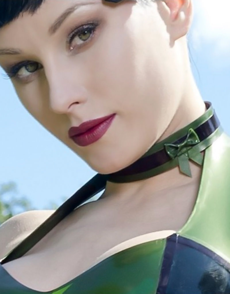 pd Latex Bow Choker with Adjustable Closure