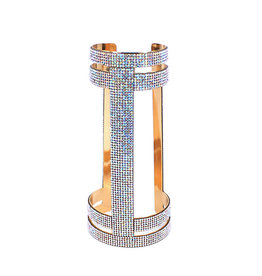 WF Long Gold Wrist Cuff with Crystals