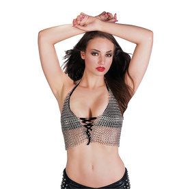 WF Chainmail Halter Top With Lace Up Front