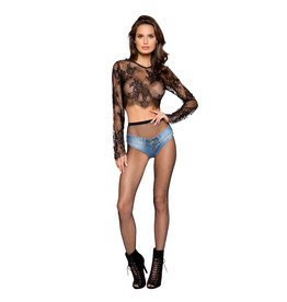 ROM Long Sleeve Eyelash Lace Crop Top