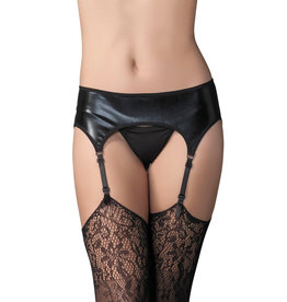 LGA Wetlook Garter Belt Black O/S