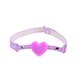 SGE Silicone Heart Ball Gag with Leather Strap
