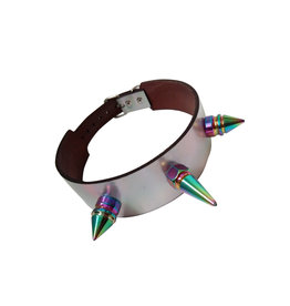 SOL Silver Holographic Choker with Iridescent Spikes