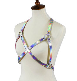 FPL Silver Hologram Cross Bra Harness