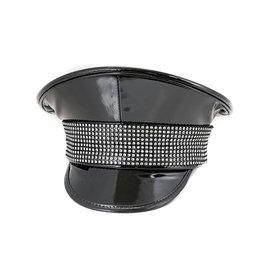 FPL Patent Military Hat with Rhinestone Trim