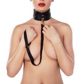 AL Adore Faux Leather Ruched Collar & Leash