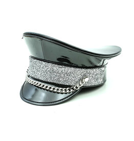 FPL Black Captains Hat with Silver Glitter & Chain