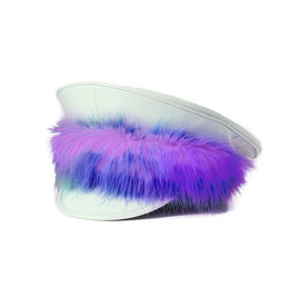 FPL White Patent Military Hat with Rainbow Fur Trim